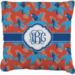 Blue Parrot Faux-Linen Throw Pillow (Personalized)