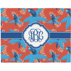 Blue Parrot Woven Fabric Placemat - Twill w/ Monogram