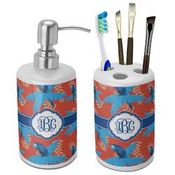 Blue Parrot Bathroom Accessories Set (Ceramic) (Personalized)