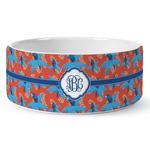 Blue Parrot Ceramic Dog Bowl (Personalized)