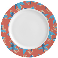 Blue Parrot Ceramic Dinner Plates (Set of 4) (Personalized)