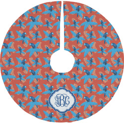 Blue Parrot Christmas Tree Skirt (Personalized)