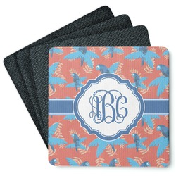 Blue Parrot 4 Square Coasters - Rubber Backed (Personalized)