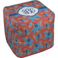 Blue Parrot Cube Pouf Ottoman (Personalized)