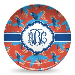 Blue Parrot Microwave Safe Plastic Plate - Composite Polymer (Personalized)