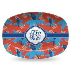 Blue Parrot Plastic Platter - Microwave & Oven Safe Composite Polymer (Personalized)