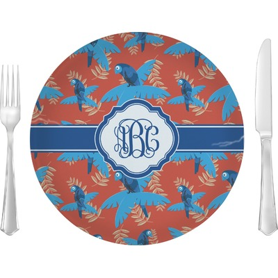 """Blue Parrot 10"""" Glass Lunch / Dinner Plates - Single or Set (Personalized)"""