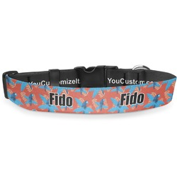 "Blue Parrot Deluxe Dog Collar - Large (13"" to 21"") (Personalized)"
