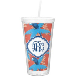 Blue Parrot Double Wall Tumbler with Straw (Personalized)