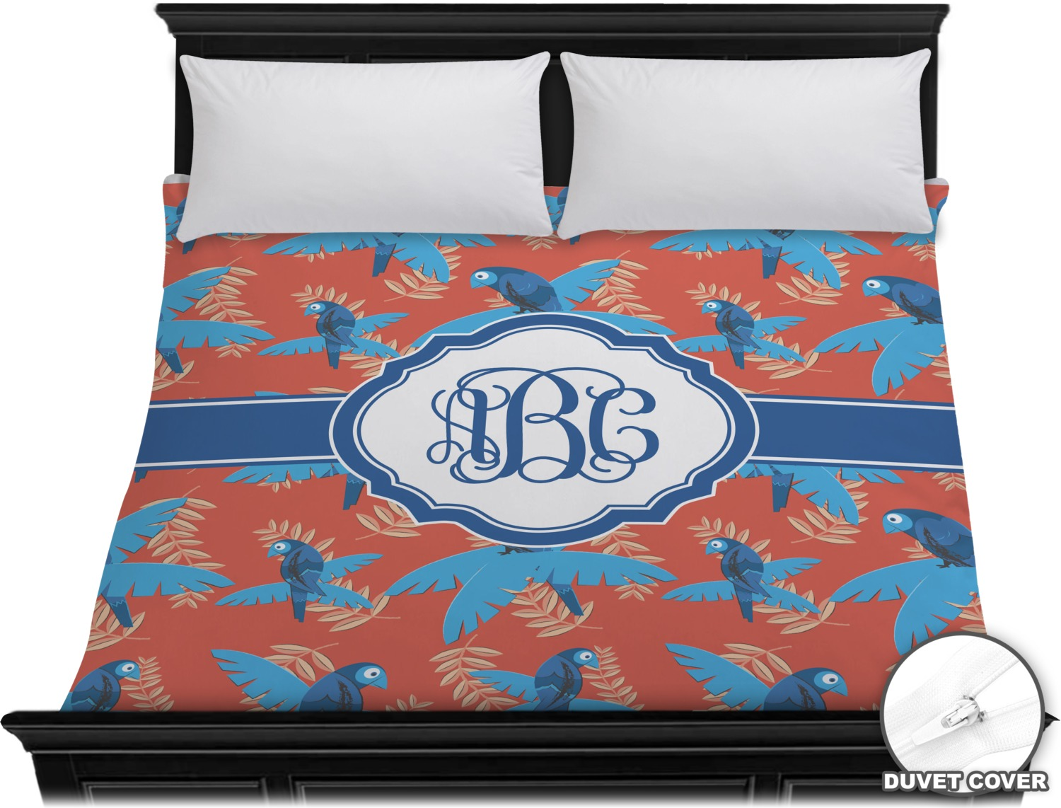 blue parrot duvet cover king personalized youcustomizeit. Black Bedroom Furniture Sets. Home Design Ideas