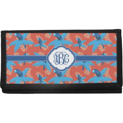 Blue Parrot Canvas Checkbook Cover (Personalized)