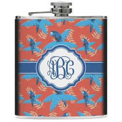 Blue Parrot Genuine Leather Flask (Personalized)