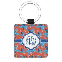 Blue Parrot Genuine Leather Rectangular Keychain (Personalized)