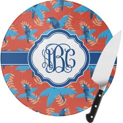 Blue Parrot Round Glass Cutting Board (Personalized)