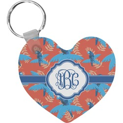 Blue Parrot Heart Keychain (Personalized)