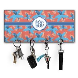 Blue Parrot Key Hanger w/ 4 Hooks (Personalized)