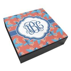 Blue Parrot Leatherette Keepsake Box - 8x8 (Personalized)