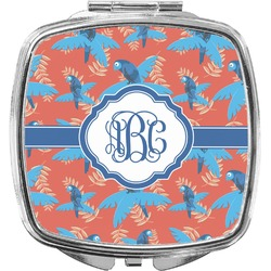 Blue Parrot Compact Makeup Mirror (Personalized)