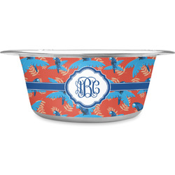 Blue Parrot Stainless Steel Pet Bowl (Personalized)