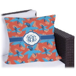Blue Parrot Outdoor Pillow (Personalized)