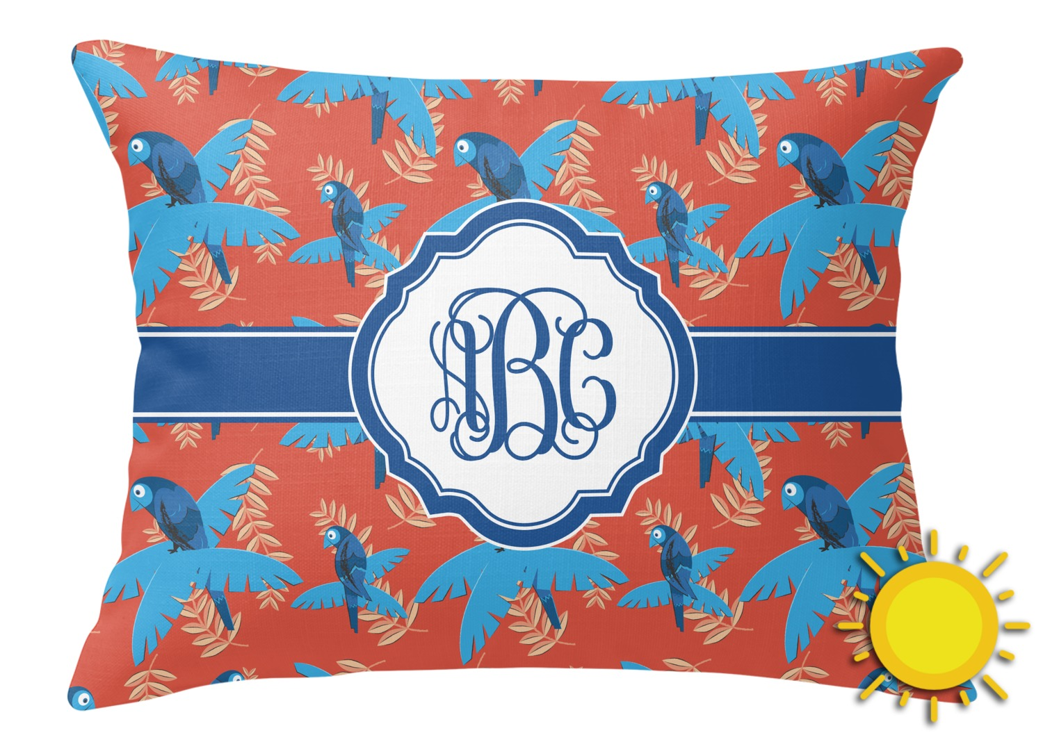 Blue Parrot Outdoor Throw Pillow (Rectangular) (Personalized) - YouCustomizeIt