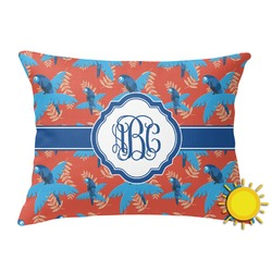 Blue Parrot Outdoor Throw Pillow (Rectangular) (Personalized)