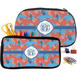 Blue Parrot Pencil / School Supplies Bag (Personalized)