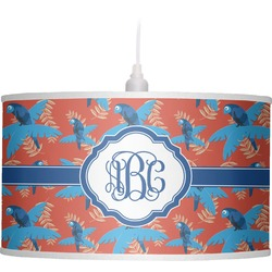 Blue Parrot Drum Pendant Lamp Linen (Personalized)