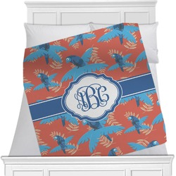 "Blue Parrot Fleece Blanket - Twin / Full - 80""x60"" - Double Sided (Personalized)"