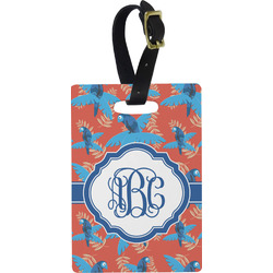 Blue Parrot Rectangular Luggage Tag (Personalized)