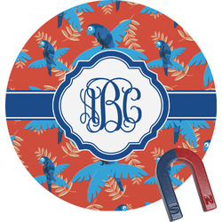 Blue Parrot Round Magnet (Personalized)
