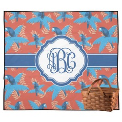 Blue Parrot Outdoor Picnic Blanket (Personalized)