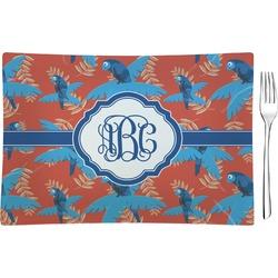 Blue Parrot Rectangular Glass Appetizer / Dessert Plate - Single or Set (Personalized)