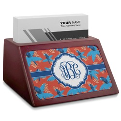 Blue Parrot Red Mahogany Business Card Holder (Personalized)