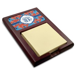 Blue Parrot Red Mahogany Sticky Note Holder (Personalized)