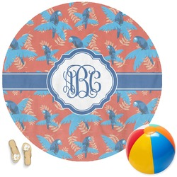 Blue Parrot Round Beach Towel (Personalized)