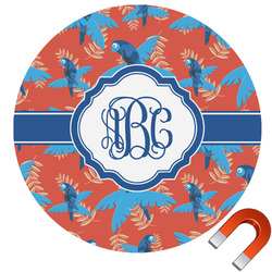 Blue Parrot Round Car Magnet (Personalized)