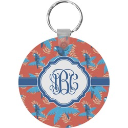 Blue Parrot Round Keychain (Personalized)
