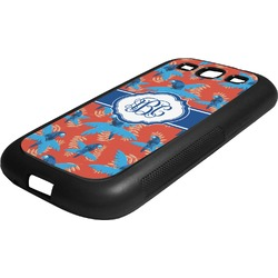 Blue Parrot Rubber Samsung Galaxy 3 Phone Case (Personalized)
