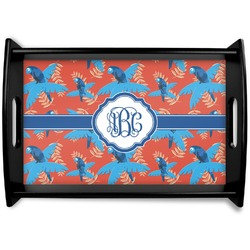 Blue Parrot Black Wooden Tray (Personalized)