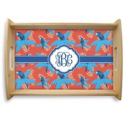 Blue Parrot Natural Wooden Tray (Personalized)