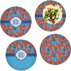 Blue Parrot Set of 4 Lunch / Dinner Plates (Glass) (Personalized)