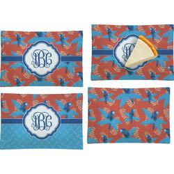 Blue Parrot Set of 4 Glass Rectangular Appetizer / Dessert Plate (Personalized)