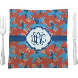 """Blue Parrot 9.5"""" Glass Square Lunch / Dinner Plate- Single or Set of 4 (Personalized)"""