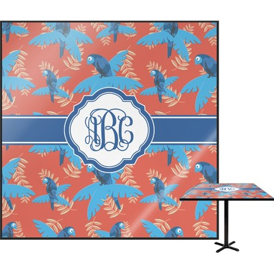 """Blue Parrot Square Table Top - 30"""" (Personalized)"""