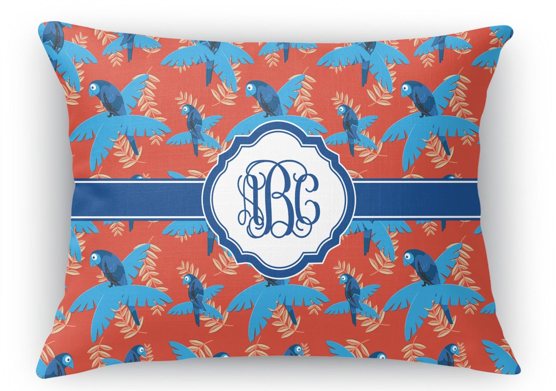 Blue Parrot Rectangular Throw Pillow - 12