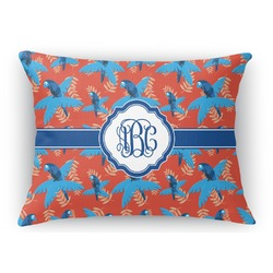 Blue Parrot Rectangular Throw Pillow (Personalized)