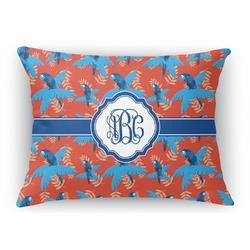 Blue Parrot Rectangular Throw Pillow Case (Personalized)