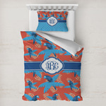 Blue Parrot Toddler Bedding w/ Monogram