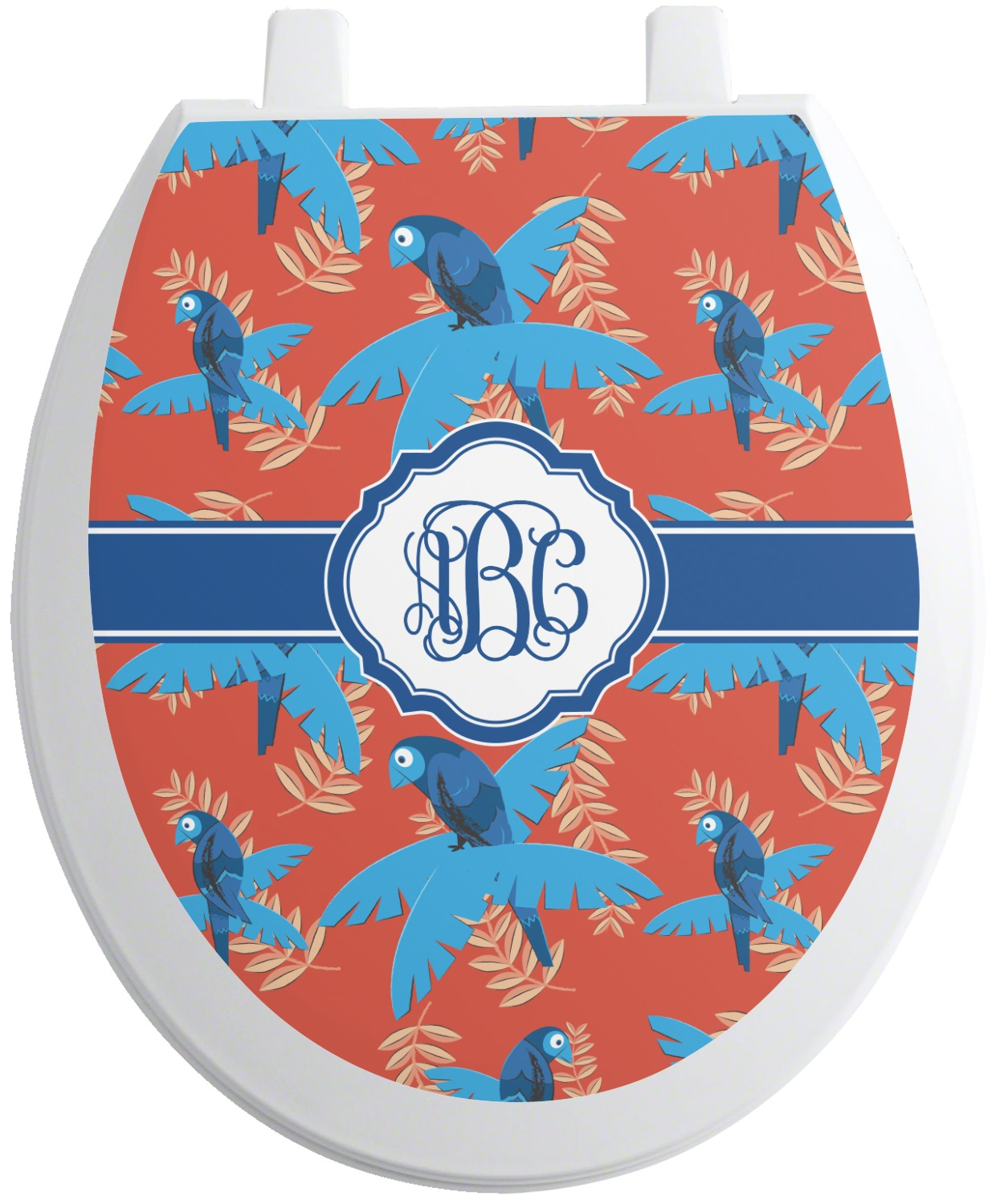 blue parrot toilet seat decal round personalized. Black Bedroom Furniture Sets. Home Design Ideas